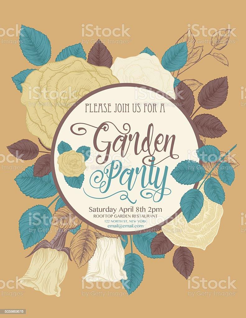Botanical Roses Garden Party Invitation Card vector art illustration