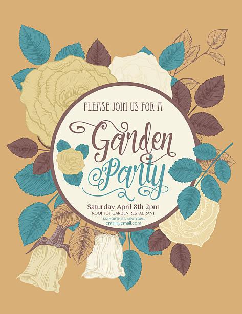植物のバラの花のガーデンパーティの招待カード - ガーデンパーティ点のイラスト素材/クリップアート素材/マンガ素材/アイコン素材