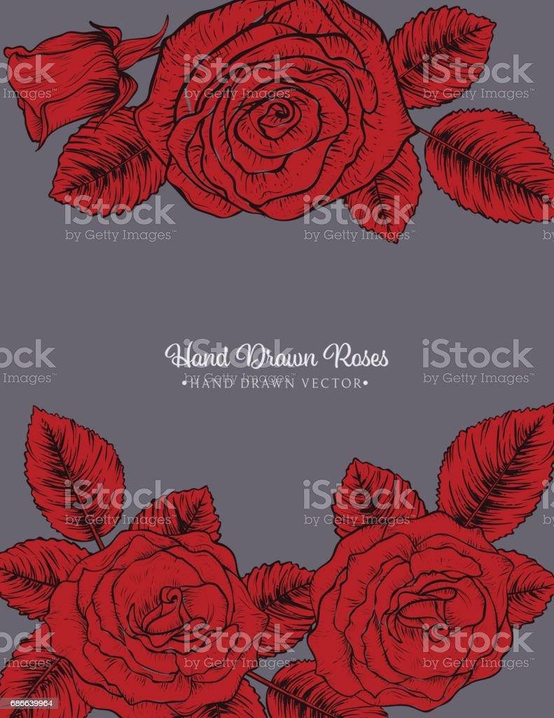 Botanical Roses Invitation Template ilustración de botanical roses invitation template y más banco de imágenes de anticuado libre de derechos