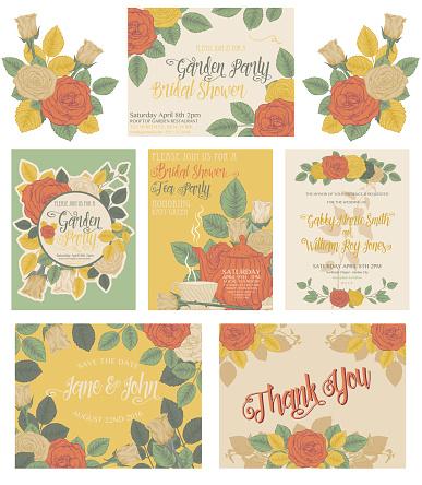 Botanical Roses Theme Invitations
