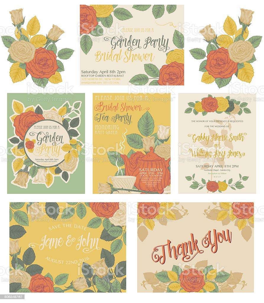 Botanical Rosen Thema Einladungen – Vektorgrafik