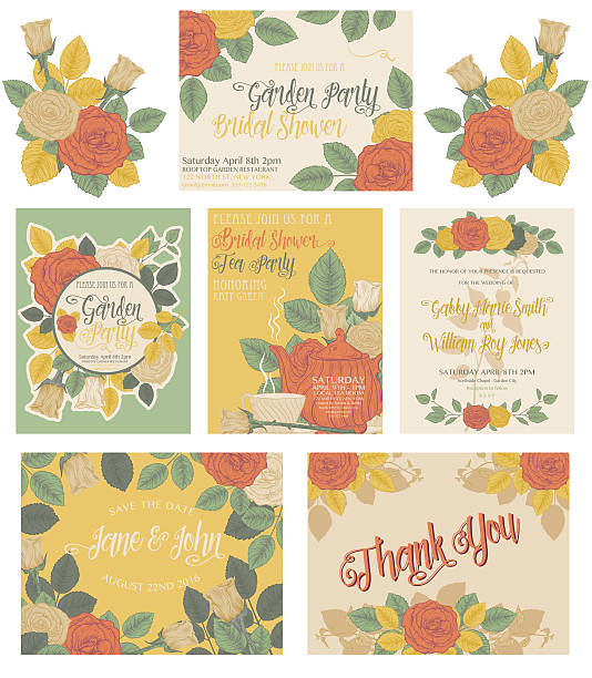 Botanical Roses Theme Invitations vector art illustration