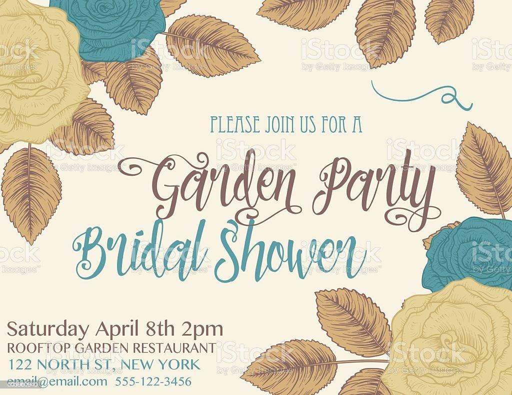 Botanical Rosen Hochzeit Einladung Vorlage – Vektorgrafik