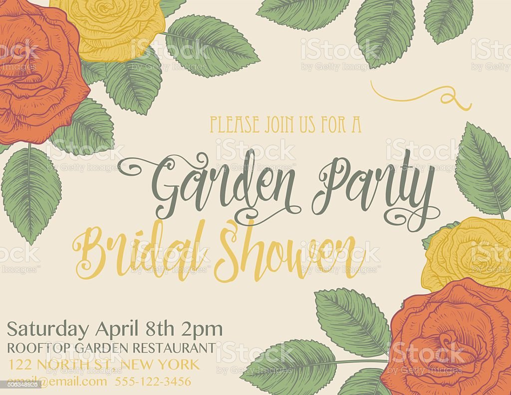 Botanical Roses Wedding Invitation Template vector art illustration