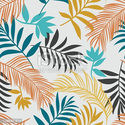 istock Botanical seamless pattern. Hand drawn fantasy exotic sprigs. Leaf ornament. Floral background made of herbal foliage leaves for fashion design, textile, fabric and wallpaper. 1268301514