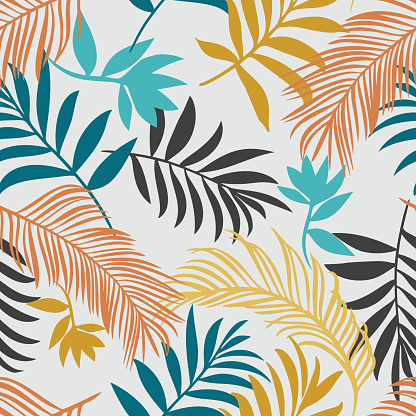 Botanical seamless pattern. Hand drawn fantasy exotic sprigs. Leaf ornament. Floral background made of herbal foliage leaves for fashion design, textile, fabric and wallpaper.