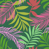 istock Botanical seamless pattern. Hand drawn fantasy exotic sprigs. Leaf ornament. Floral background made of herbal foliage leaves for fashion design, textile, fabric and wallpaper. 1283686285