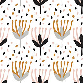 Botanical seamless pattern in Scandinavian style. Light grey, pink. Flat minimal design with Doodle elements.Vector illustration. Fabric, Wallpaper, other surfaces