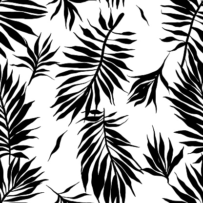 Botanical seamless pattern made of leaves and sprigs