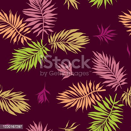 istock Botanical seamless pattern made of leaves, plants and sprigs 1220167297