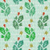 Botanical seamless pattern. Hand drawn fantasy exotic sprigs with weaving texture. Floral illustration made of herbal foliage leaves with short lines background. Good for textile, fabric, fashion.