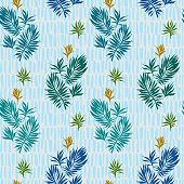 Abstract tropical plants pattern. Hand drawn fantasy exotic sprigs with weaving texture. Seamless floral illustration made of herbal foliage leaves with short lines background. Good for textile, fabric, fashion.