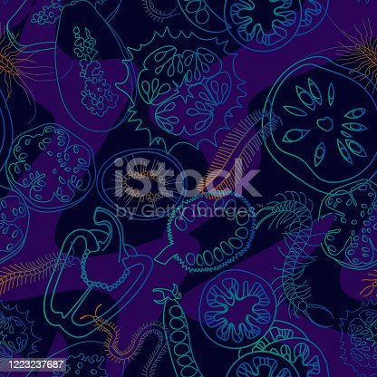 Botanical seamless pattern made of vegetables and fruits