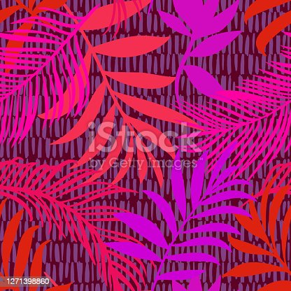 Botanical seamless pattern mixed with dashed lines print texture. Hand drawn fantasy exotic sprigs and leafage. Floral background made of herbal foliage and leaves for fashion,  textile and fabric.