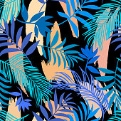 Botanical seamless pattern mixed with geometric shapes brush strokes texture. Exotic sprigs and leafage. Floral background made of herbal foliage and leaves for fashion,  textile and fabric.