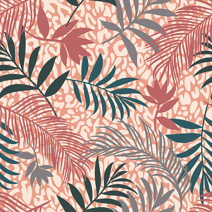 Botanical seamless pattern mixed with leopard spots skin print texture. Hand drawn fantasy exotic sprigs and leafage. Floral background made of herbal foliage leaves for fashion,  textile, fabric.