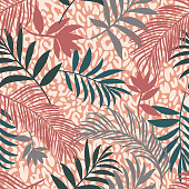 istock Botanical seamless pattern mixed with leopard spots skin print texture. Hand drawn fantasy exotic sprigs and leafage. Floral background made of herbal foliage leaves for fashion,  textile, fabric. 1287670539