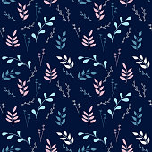 Botanical seamless pattern on dark background. Twigs with leaves, different types of plants. Vector.