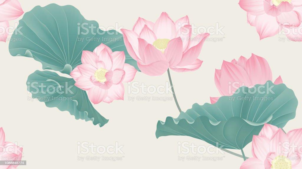 Botanical seamless pattern, pink lotus flowers and leaves on light brown background, pastel vintage theme vector art illustration