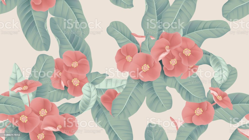 Botanical seamless pattern, red Euphorbia milii flowers and leaves on light brown background, pastel vintage theme vector art illustration
