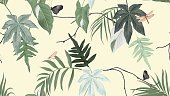 Botanical seamless pattern, various green leaves with butterfly and dragonfly on light yellow, pastel vintage theme