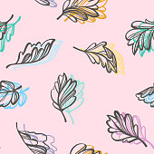 Botanical seamless pattern. Transparent leaves of a tree isolated. Shadow illusion. Sketch style flat design, outline drawing. Vector floral background.