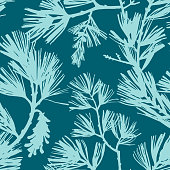 Floral seamless pattern. Silhouettes of spruce branches and pine cones. Tree elements in vintage style. Flat botanical background. Textile and fabric design.