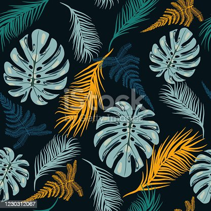 istock Botanical seamless pattern with tropical leaves. 1230312067