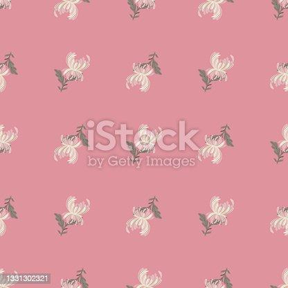 istock Botanical seamless pattern with white chrysanthemum flower shapes. Pink pastel background. Nature print. 1331302321