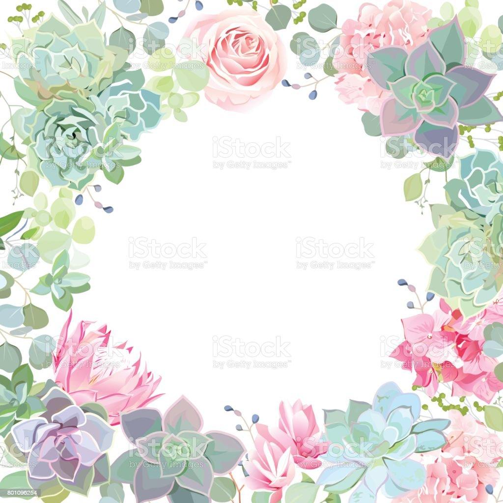 Botanische stijl banner met bloem mixvectorkunst illustratie