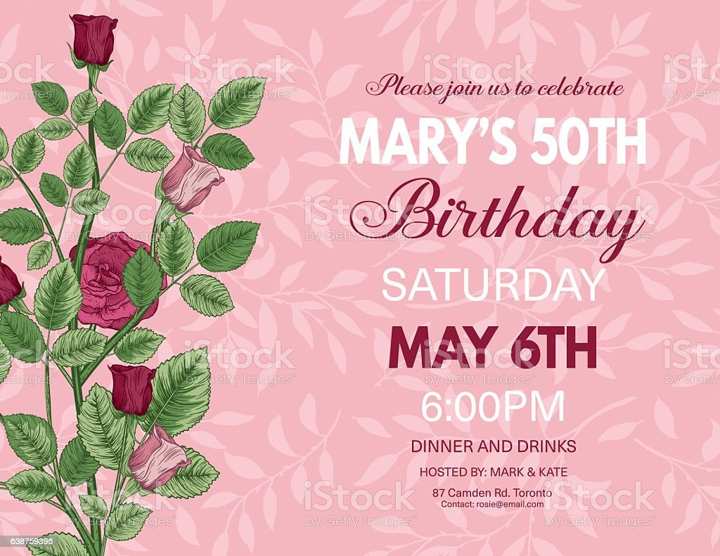 Botanical Style Roses Birthday Party Invitation Lizenzfreies Stock Vektor Art