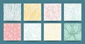Botanical hand drawn vector textures, floral ornament, herbal pattern, plant ornamentation. Modern multipurpose template set for wedding invitation, business flyer, art poster, business card, banner.