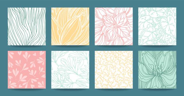 Botanical textures, floral patterns, tropical plants ornaments. Vector design clipart collection isolatad on background. Botanical hand drawn vector textures, floral ornament, herbal pattern, plant ornamentation. Modern multipurpose template set for wedding invitation, business flyer, art poster, business card, banner. botany stock illustrations