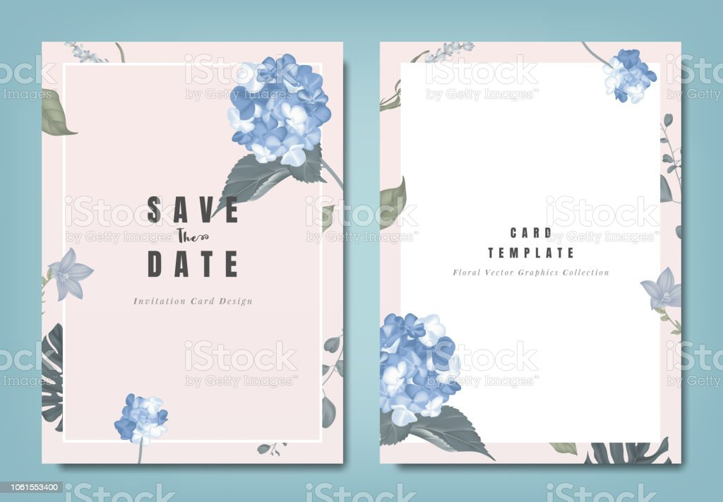 Botanical Wedding Invitation Card Template Design Blue Hydrangea Flowers And Leaves On Light Pink Background Minimalist Vintage Style Stock
