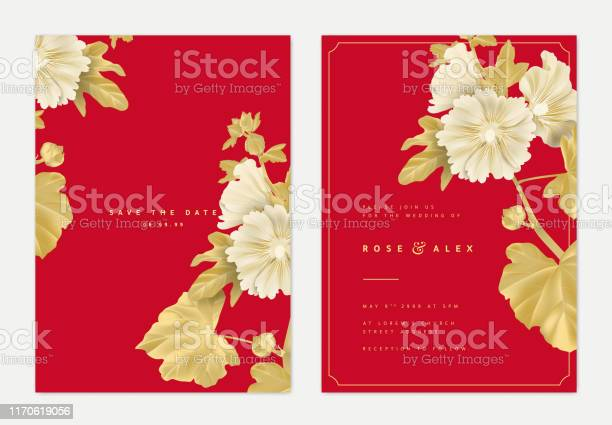 Botanical wedding invitation card template design golden alcea or vector id1170619056?b=1&k=6&m=1170619056&s=612x612&h=9qqxjybzrgvikmlajeowypa kv qsuelm13lha65lse=