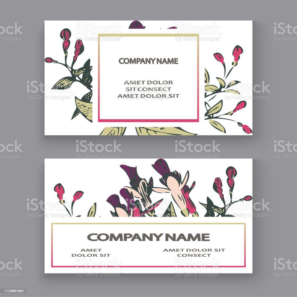 Botanical Wedding Invitation Card Template Design Hand Drawn