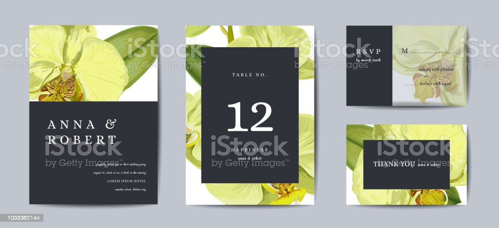 Botanical Wedding Invitation Card Template Design Orchid Flowers ...