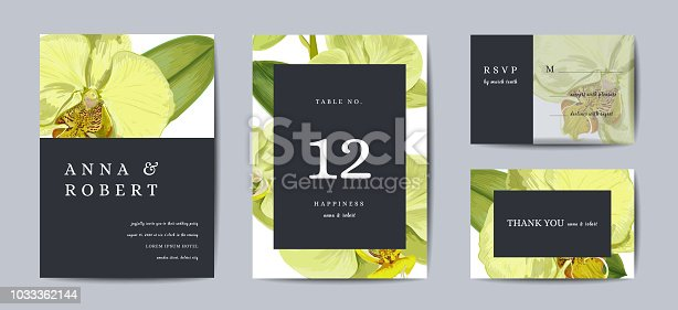 Botanical wedding invitation card Template Design, Orchid flowers in modern, Collection of Save the date, RSVP in vector