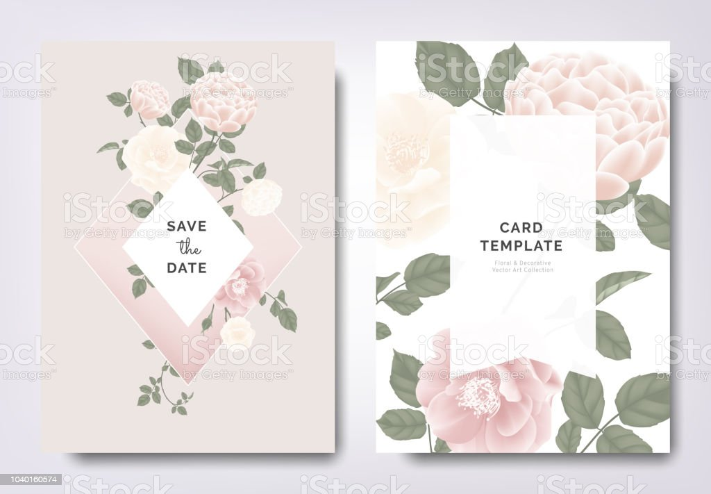 Botanical Wedding Invitation Card Template Design Pink And White