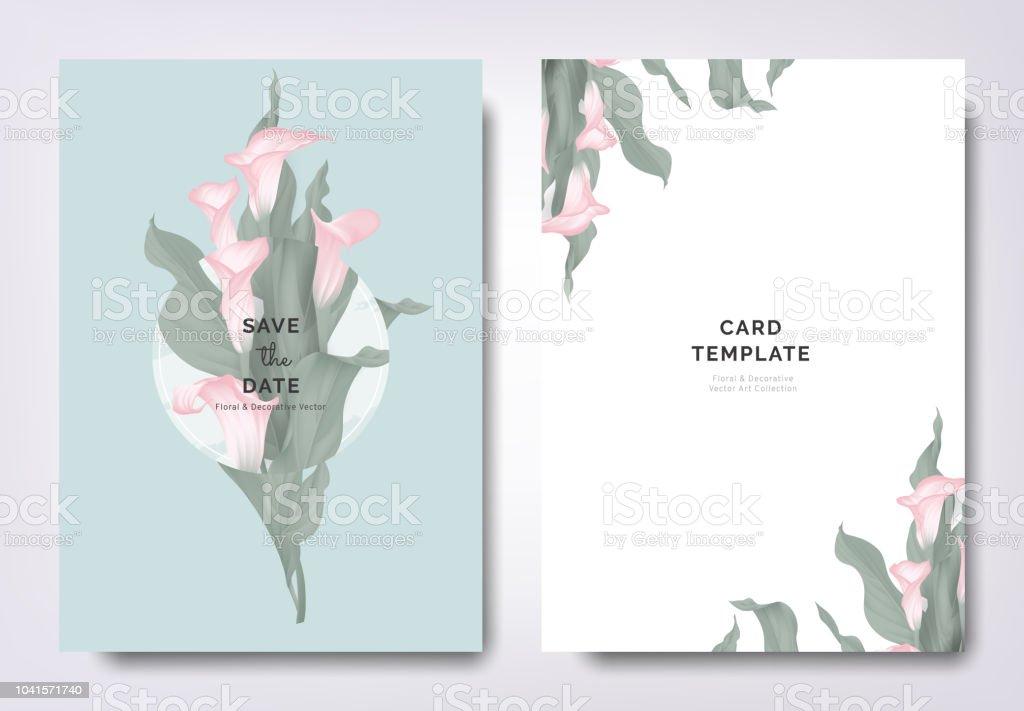 Botanical Wedding Invitation Card Template Design Pink Calla Lily