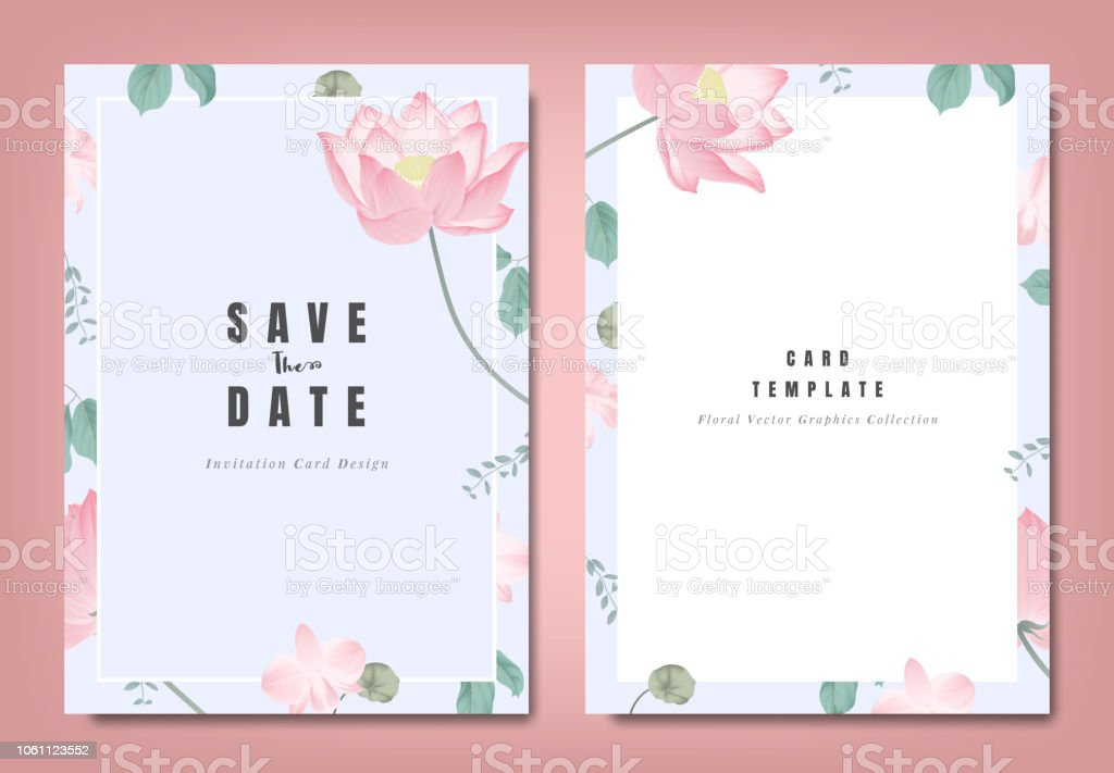 botanical wedding invitation card template design pink lotus flowers