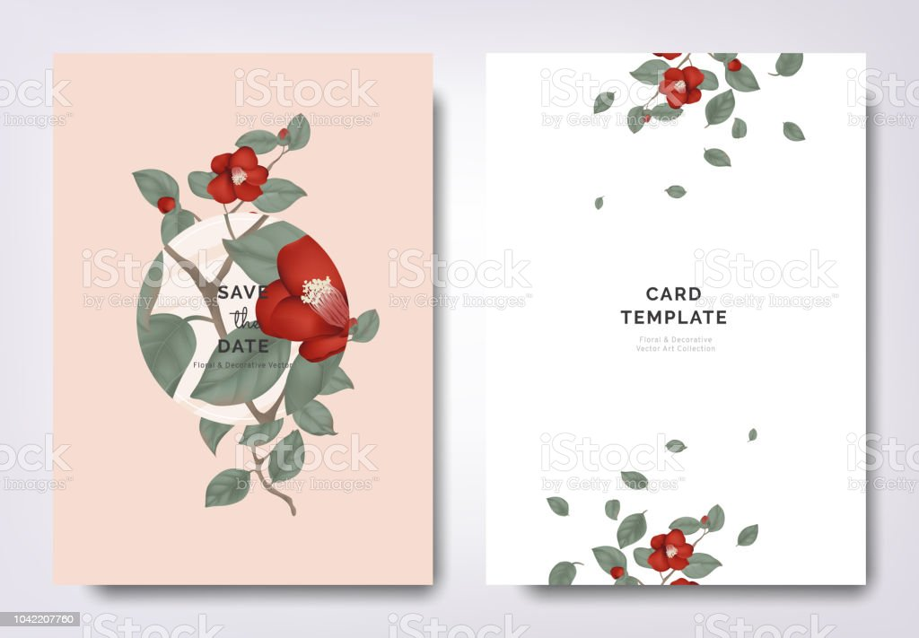 Botanical Wedding Invitation Card Template Design Red