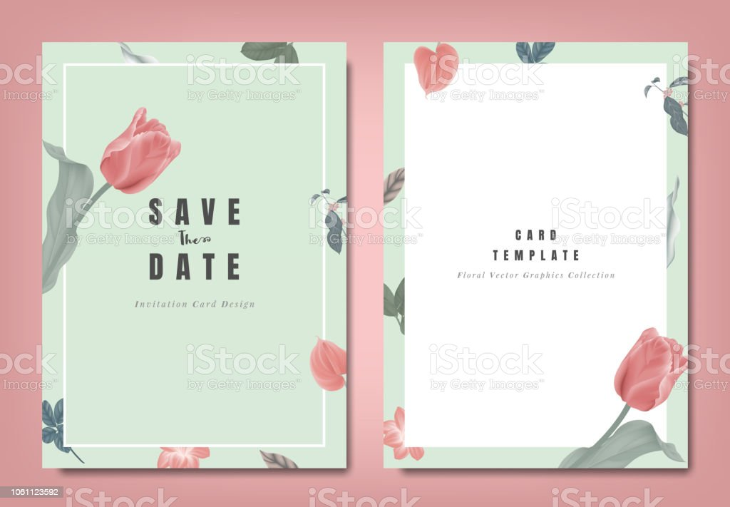 Botanical Wedding Invitation Card Template Design Red Tulip