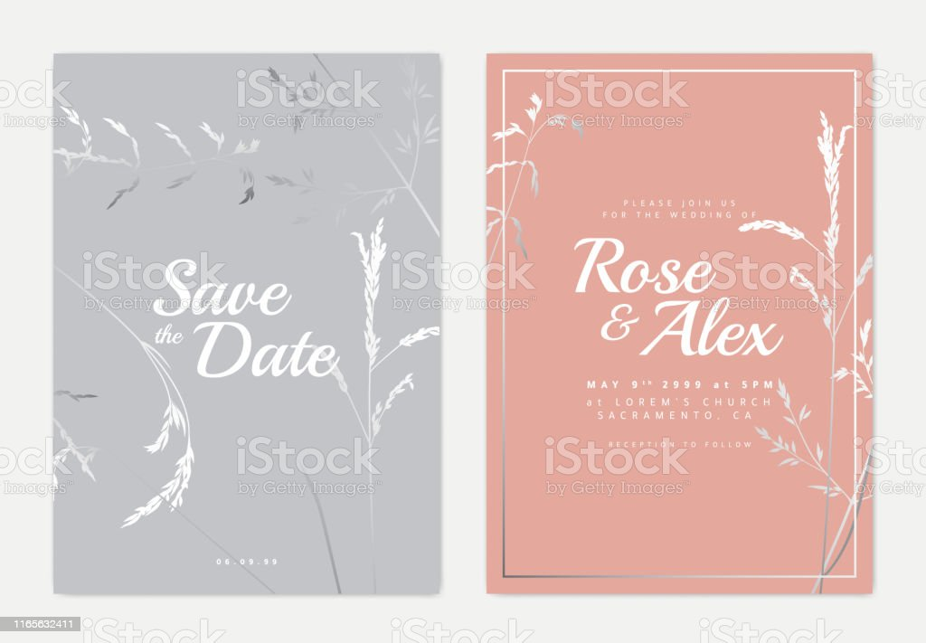 Botanical Wedding Invitation Card Template Design Silver