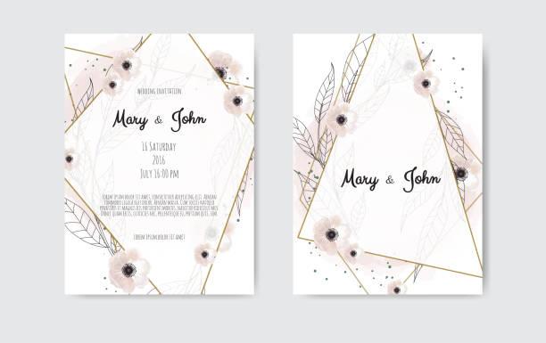 bildbanksillustrationer, clip art samt tecknat material och ikoner med botaniska bröllop inbjudan kort mall design, vita och rosa blommor på vit och svart bakgrund - white roses