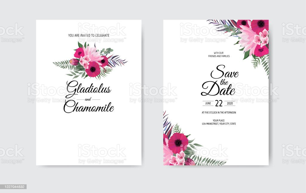 Botanical Wedding Invitation Card Template Design White And Pink Flowers On White Background Stock Illustration Download Image Now Istock