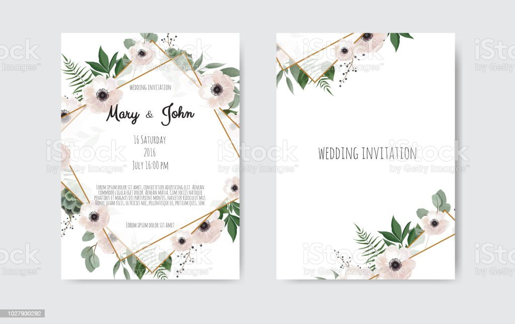 botanical wedding invitation card template design white and pink