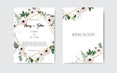 Botanical wedding invitation card template design, white and pink flowers. Vector template set