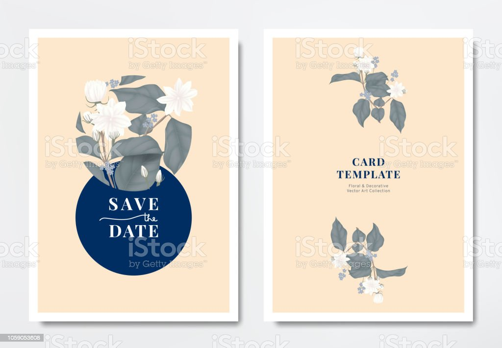 Botanical Wedding Invitation Card Template Design White Jasmine And