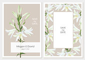 Botanical wedding invitation card, template design with white lilies on a beige background